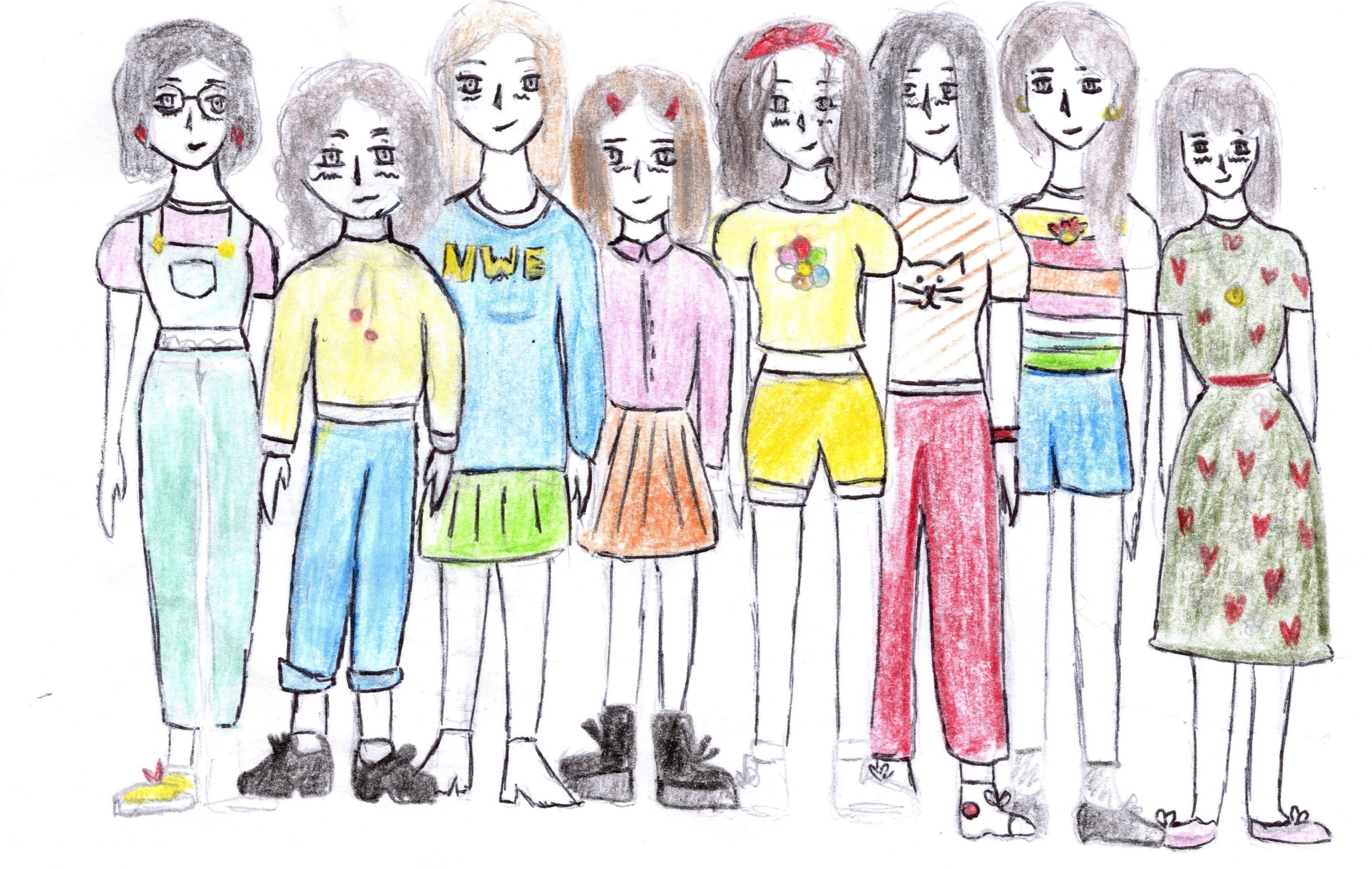 De gauche a droite: Carmen-Elise-Maëlisse-Camille-Louise-Lison-Capucine-Enora